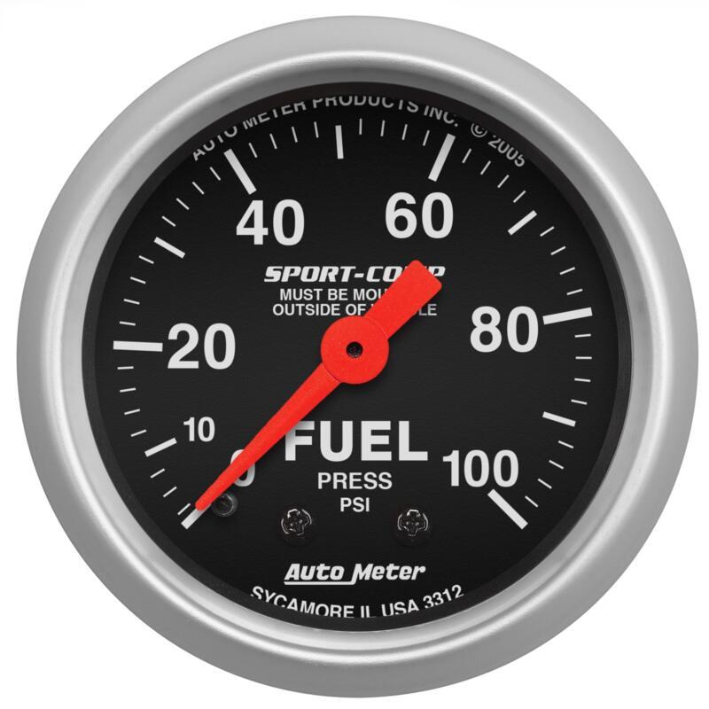 """52mm Auto Meter Sport-Comp 100 Psi Mechanical Fuel Pressure Gauge 2 1//16/"""""""