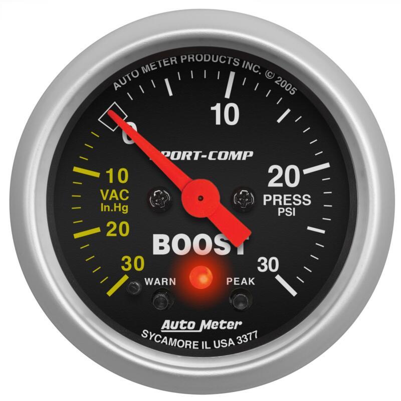 """Auto Meter Boost//Vacuum Gauge 3301; Sport-Comp 30 inHg to 20 psi 2-1//16/"""""""