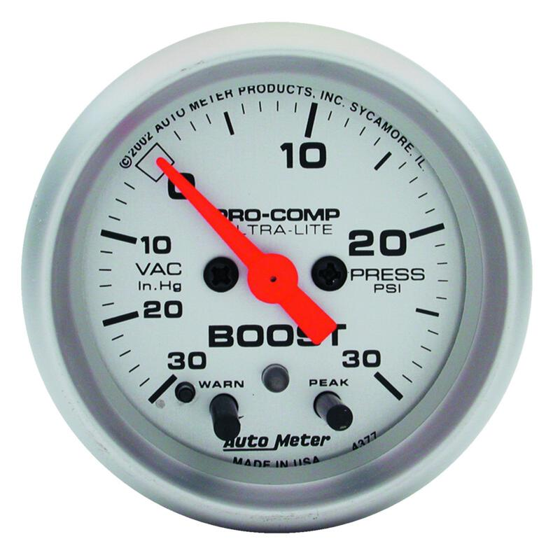 "Auto Meter 4308 2-1//16/"" Ultra-Lite Mechanical Boost//Vacuum Gauge 45 PSI"
