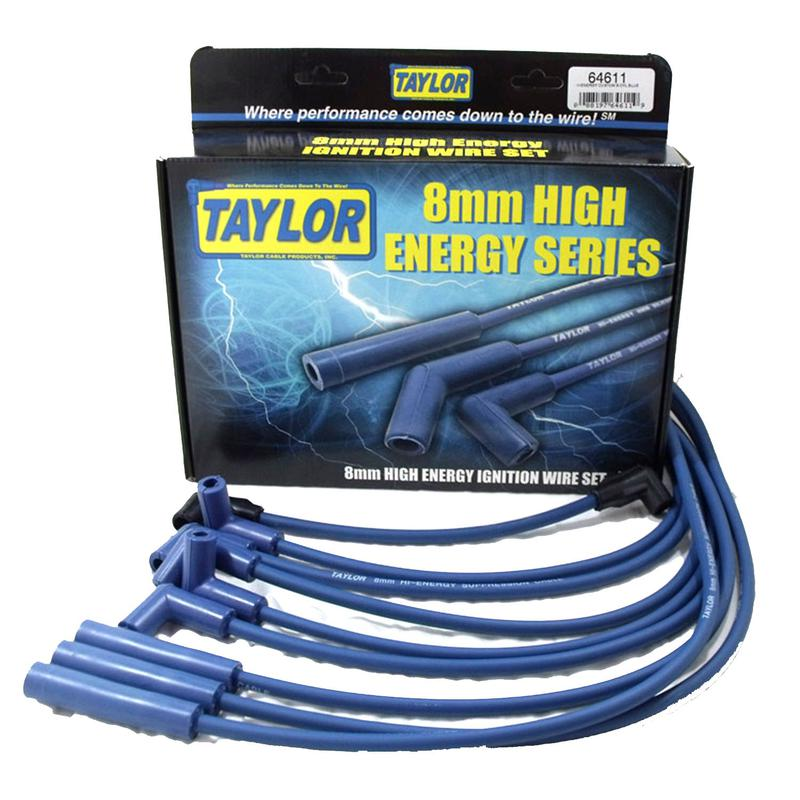 Taylor Spark Plug Wire Set 64611; High Energy 8mm Blue for Chevy V8 ...