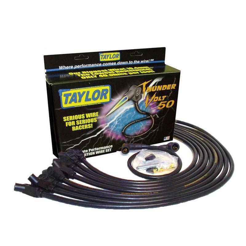 Taylor Spark Plug Wire Set 98014; ThunderVolt 50 10.4mm Black 135° for Chevy V8